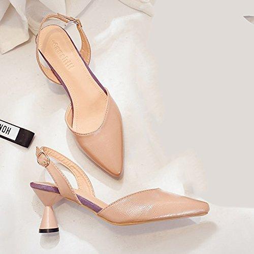 el sandalias Baotou para chica alto Qiqi los Beige viaje salvaje gruesas tacón con de con ranurados zapatos Xue KI0qtI