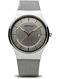 Time 11938-001 Mens Classic Collection Watch with Mesh Band and scratch resistant sapphire crystal. Bering