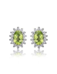 JewelryPalace Princess Diana William Kate 1.2ct Natural Peridot Halo Stud Earrings 925 Sterling Silver