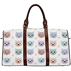 """Cat Practicality Travel Bag,Smiley Cat Muzzle and Paw Prints Pattern on Cartoon Animal Themed Kitty Kids Nursery for School,20.8""""L x 12""""W x 9.8""""H"""