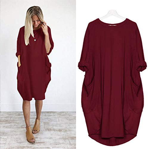 The Best Easter Gift!!!Aries Esther 2019 Womens Pocket Loose Dress Ladies Crew Neck Casual Long Tops Dress Plus Size