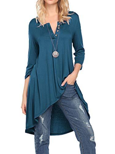 - Naggoo Women's Half Sleeve High Low Loose Fit Casual Tunic Tops Tee Shirt Dress (XXL, Teal)