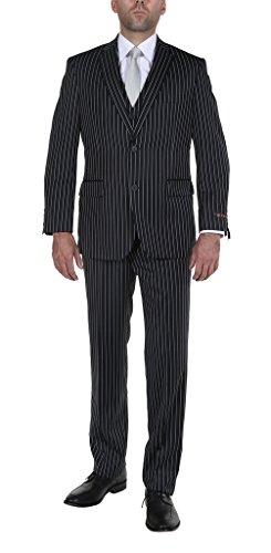 Lined Blazer Pinstripe (P&L Men's Suit 3-Piece Pinstripe Vest Blazer Jacket Flat-Front Pants Set)