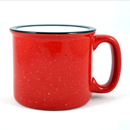 - Marble Creek Ceramic Campfire Mug, 15oz - Set of 4 (Red)