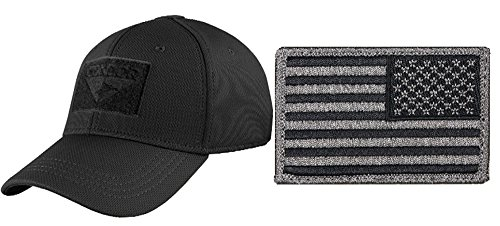 Condor Flex Stealth Black Cap Large/XL + USA FLAG PATCH FOLIAGE GREEN (Black Stealth Fitted Hat)