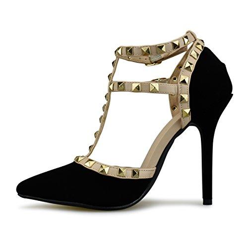 Toe Stilettos Black Standard Leather Heel Pumps High Strappy Sandals Premier Pointed Studded Nb Women's qTvgxgt
