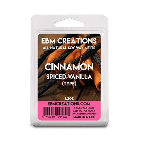 Cinnamon Spiced Vanilla (Type) - Scented All Natural Soy Wax Melts - 6 Cube Clamshell 3.2oz Highly Scented! ()