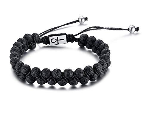 Mens Womens Handmade Braided Rope Natural Lava Beaded Bracelet Ankh Cross Symbol Bracelets Gift