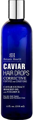 Botanic Hearth Caviar Corrective Hair Oil Drops, Leave-in Deep Conditioner Hair Oil Nourishes and Restores Shine, Controls Frizz, for All Hair Types, 4 fl oz