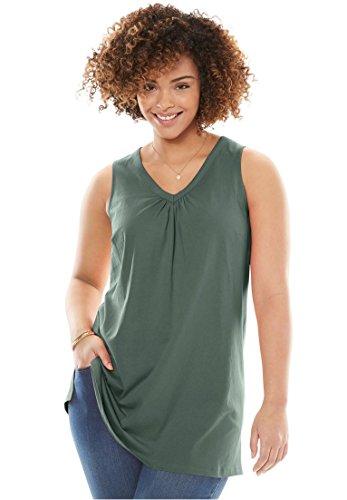 Womens Plus Size Sleeveless Perfect Tunic Pine 2X