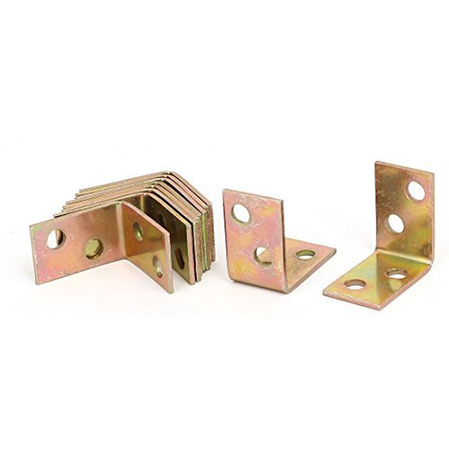 DealMux 26mmx16mmx26mm L Shaped Angle Support Brackets Connector Bronze Tone 10pcs 1/2' Corner Brace