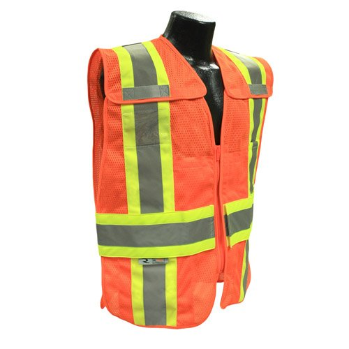 Two Expandable Safety Tone Vest - Radians SV24-2ZOM-M/L Polyester Mesh Class-2 Breakaway Expandable Two Tone Vest