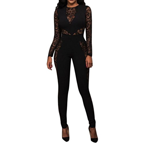 Coohole New Fashion Women's Sexy Long Sleeve Lace Patchwork Clubwear Playsuit Causal Jumpsuit (Black, M) Jumpsuit Medium Wetsuits