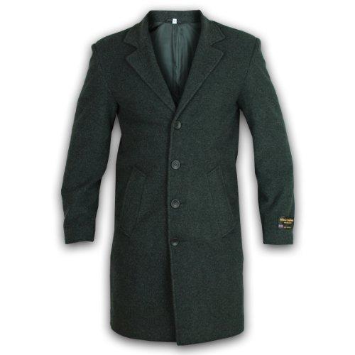 Hombre Lana Y Cachemir Blend Invierno Largo Formal Abrigo - Gris, XXG