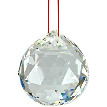 40MM Luos Feng Shui Beautiful Clear Crystal Prism for Energy-(RED STRING INCLUDED)