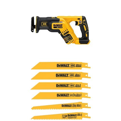 DEWALT DCS367B 20V Max XR Brushless Compact Reciprocating Saw, (Tool Only) and DW4856 Metal/Woodcutting Reciprocating Saw Blade Set, 6-Piece
