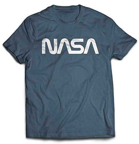 Revel Shore Men's Retro Vintage NASA Worm Logo Premium Soft T-Shirt (Small, Indigo Blue)