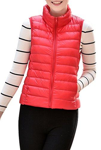 HENGJIA Women's Stylish Lightweight Packable Down Puffer Sleeveless Fall & Winter Vest Red US Medium(Asian (Western Down Vest)