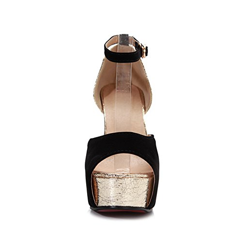 Amoonyfashion Donna Open Peep Toe Tacco Alto Sandalo In Chunky Con Plateau Con Colori Assortiti Nero