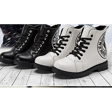 LFNLYX Mujer-Tacón Bajo-Confort-Botas-Exterior / Casual-PU-Negro / Blanco White