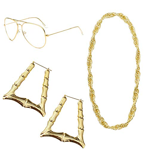 Feacole 80s/90s Style Costumes Jewelry for Women, Old School Rapper Hip Hop Costume Kit ()