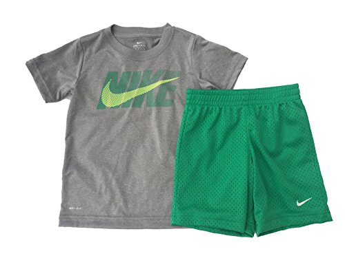 Nike Infant Boys Dri-Fit Two Piece Tee Shirt and Shorts Set Grey/Stadium Green Size 12 Months