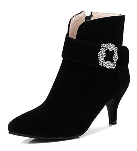 Aisun Womens Rhinestone Strap Stiletto Kitten Heels Short Boots Inside Zip Up Pointed Toe Ankle Booties With Zipper Black mjdvlxU