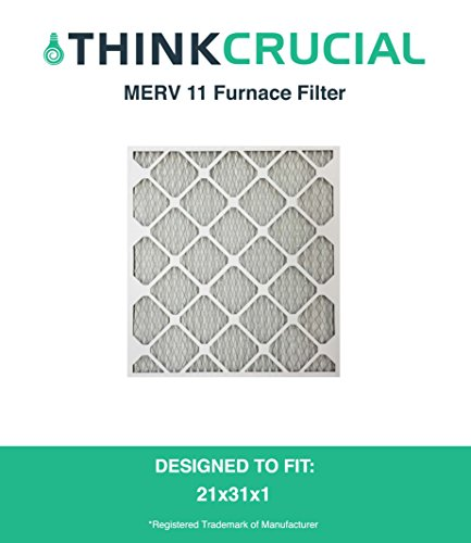 21x23x1 MERV 11 Allergen Air Furnace & Air Conditioner Filter, Pleated, Premium Filtration, by Think Crucial