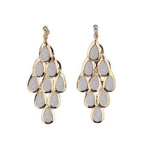 GRACE JUN New Handmade Multi-Layer Shiny Sequin Clip on Earrings No Pierced and Dangle Drop Earrings for Women ... (Gold White)