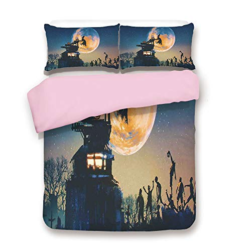 Pink Duvet Cover Set,Twin Size,Dead Queen in Castle Zombies in Cemetery Love Affair Bridal Halloween Theme,Decorative 3 Piece Bedding Set with 2 Pillow Sham,Best Gift For Girls Women,Blue Yellow ()