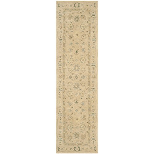 Safavieh Anatolia Collection AN572A Handmade Traditional Oriental Taupe and Blue Wool Runner (2'3