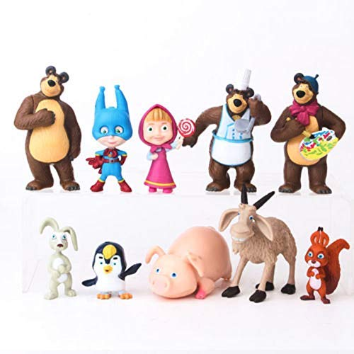Masha and The Bear Playset 10 Pcs Figures Doll Toys Party Favor Cupcake Topper + Bonus Assorted Stickers