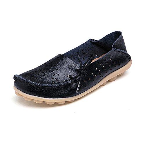 Fiscal Dame Cuir Galets Conducteurs Casual Mocassins Chaussures Plates Avec Trou Respirant Noir
