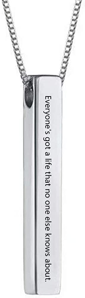 Sterling Silver Personalized 4 Sided Vertical Bar Necklace Custom Made Any Name Pendant chain 18 inch