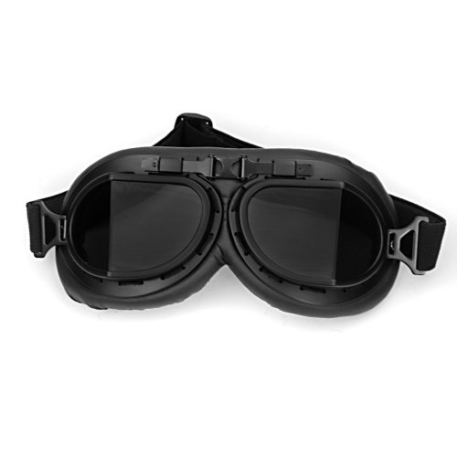 [Astra Depot WWII RAF Vintage Pilot Style Black Frame Motorcycle Café Racer Cruiser Touring Helmet] (Halloween Goggles)