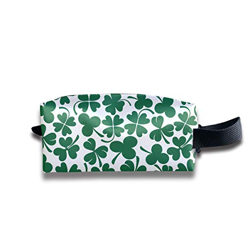 Casual Make up Bag Travel Bag Professional Storage, Lucky Clover Shamrock Multi-Purpose Cosmetic Train Case Pouch Portable Artist for Women Girl, Large Capacity Pens Case