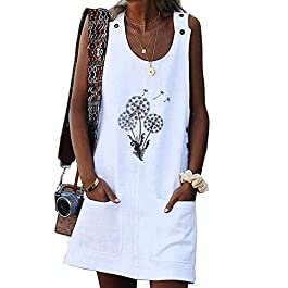 Remikstyt Womens Summer Tank Dress Sleeveless Button Print Casual Mini Beach Dress with Pocket