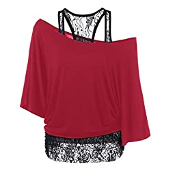 Sinfu Women Lace Loose Casual Long Sleeve Solid Tops Plus-Size Easy Care Blouse (Asian Size:XL, Red)