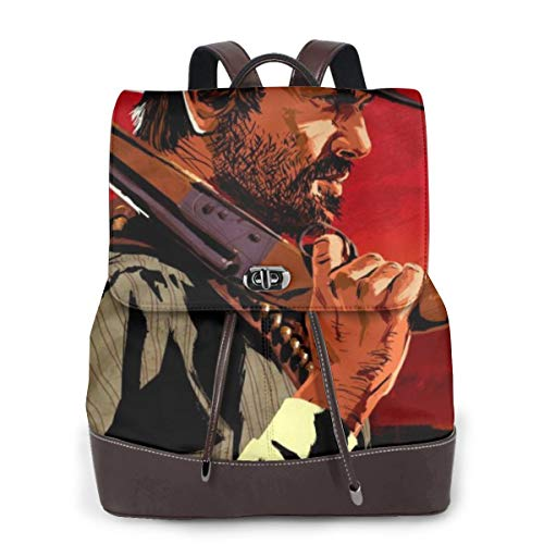 NEWBAG105FASHION Red Dead Redemption Gun Unisex Students Adults Leather Backpacks Schoolbag Book Bags Bookbags Daypack Backbag Camping Gym School Office for Boys Girls