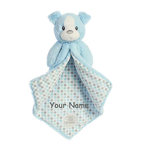 Ebba Personalized My First Puppy Blue and Grey Polka Dot Luvster Plush Blanket for Baby Boy with Custom Name - 16 Inches