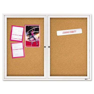 Quartet 2364 Cork Bulletin Board, 2 Door, Enclosed, 4'x3', AM Frame by Quartet