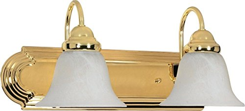 2 Polished Brass Vanities (Nuvo 60/328 Ballerina Two Light 18-Inch Vanity with Alabaster Glass, Polished Brass)