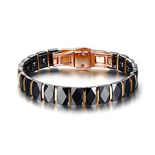 (Men's Magnetic 2-Tone Stainless Steel Ceramic Gold Bracelet   for Male, Female   Unisex Trendy Black Rose Gold-Color Jewelry (19cm))