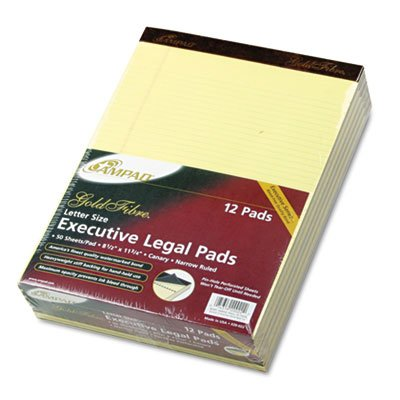 Gold Fibre Pads, Narrow/Margin Rule, Ltr, Canary, 50-Sheet Pads/Pack, Dozen, Sold as 1 Dozen