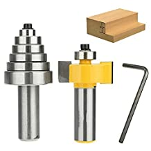 """FORTOMORROW 7pcs Metal Rabbet Router Bit -1/2""""H - 1/4"""" Shank with 6 Bearings Set For solid wood Particle Board"""