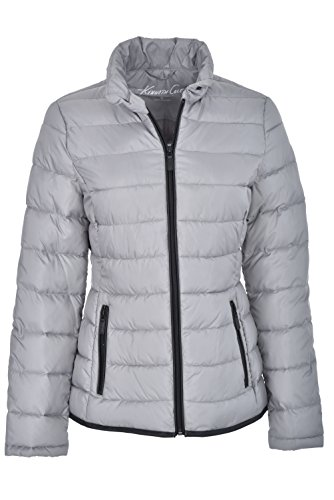 Kenneth Cole NY Pack-It Jacket Short Puffer Coat Pewter M (Women Puffer Jacket)