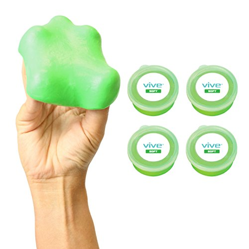 Therapy Putty by Vive (3-oz each) For Finger, Hand & Grip Strength Exercises - Extra Soft, Soft, Medium and Firm Resistance Kit for Occupational, Physical Therapy, Thinking and Stress (Soft)