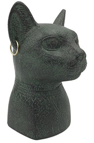 Parastone Bastet Cat Egyptian Bust with Earrings and Solar Disc Small Statue 3.4H by Parastone