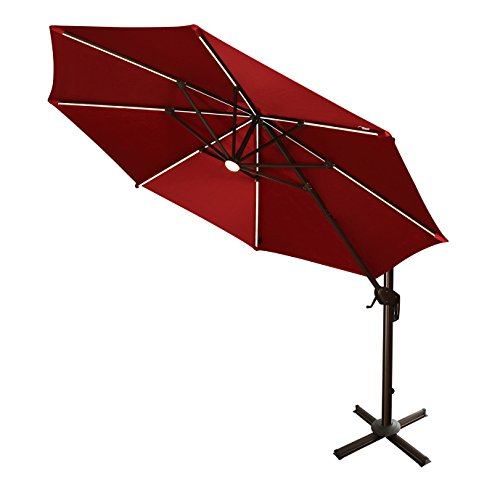 Ulax Furniture 360° Rotation 11 Ft Deluxe Solar Powered LED Lights Outdoor Offset Hanging Market Umbrella, Cantilever Patio Umbrella, 7 different tilt positions, Cross Base Included, Red (Patio Simply Offset Shade Umbrella)