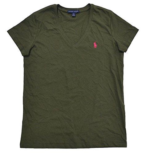 Ralph Lauren Womens V-Neck Jersey T-Shirt (Small, Polo Olive Green) Ralph Lauren Jersey Polo Shirt
